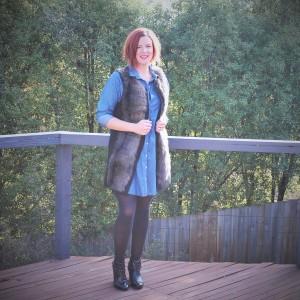 fur vest and denim shirt dress-2